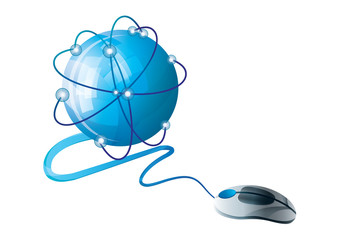 Mouse connected to globe Comunication icon illustration