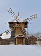 a wind mill in the Russian village