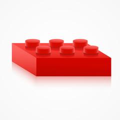 Isometric colorful plastic building block.