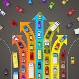 Fototapety traffic jam with directional arrows