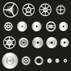various silver metal cogwheels parts of watch movement eps10