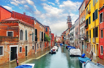 Venice canal with ship