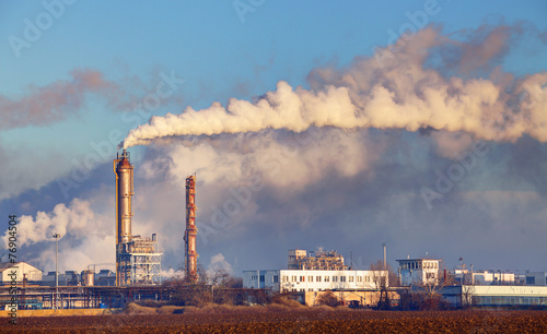 Staande foto Industrial geb. Factory with air pollution