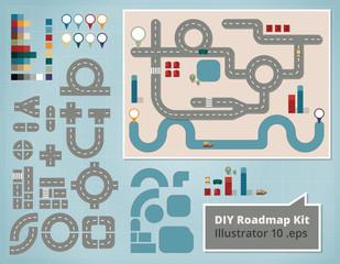 Road Map Design Elements, Set of Illustrations