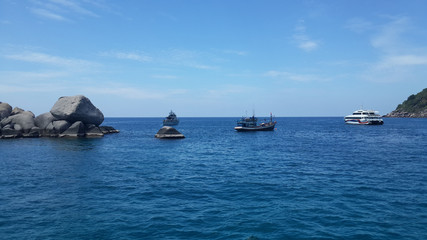 Fishing boat and ship in the sea Thailand