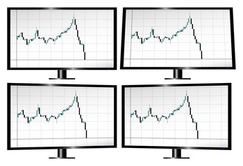 Monitors displaying stock market crash with candlesticks