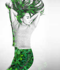 Double exposure of asian woman and nature