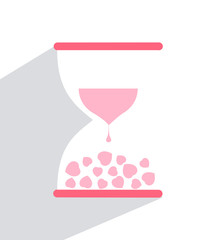 Love hourglass with hearts inside