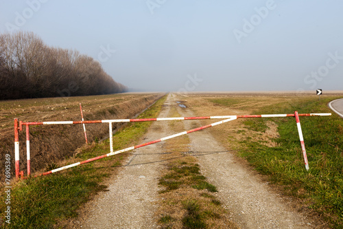 Poster Country road blocked, Delta del Po