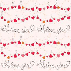 Valentine's day pattern, vector, seamless.