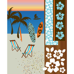 beach scene with surf boards