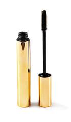 black mascara wand and tube isolated on white