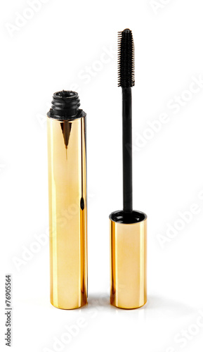 black mascara wand and tube isolated on white - 76905564