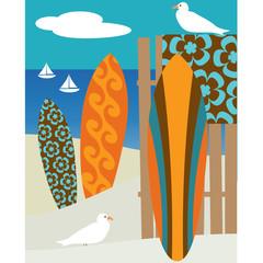 surfboard beach scene