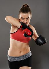 Kickbox lady elbow hit