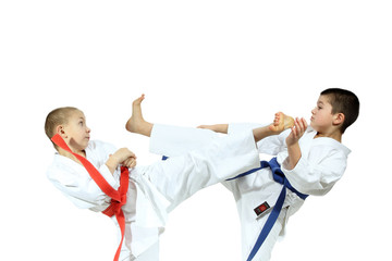 Karate athletes exchanged kick to the head