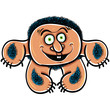 Happy cartoon monster, vector illustration.
