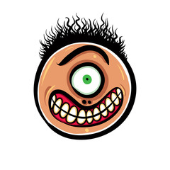 Shocked cartoon face with one eye, vector illustration.