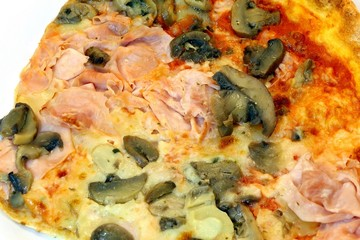 pizza with mozzarella tomato ham mushrooms