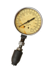 Compression tester gauge isolated on white background