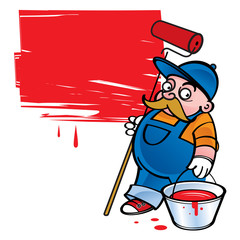 Painter - worker painting the wall in red color