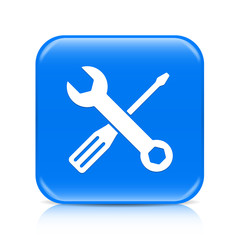 Blue screwdriver & spanner button icon with reflection