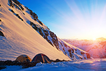 touristic camp at the morning