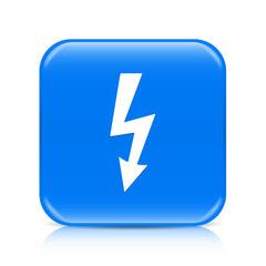 Blue lightning arrow button icon with reflection