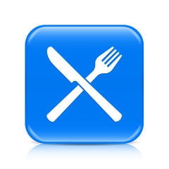 Blue knife and fork button icon with reflection