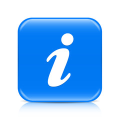 Blue i button icon with reflection