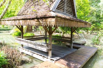 thailand traditional vintage wooden gazebo