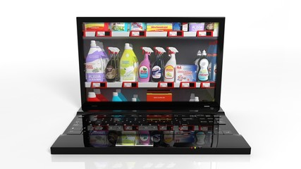 Online shopping concept with laptop and cleaning products