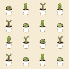 Collection of cactus . Vector pattern