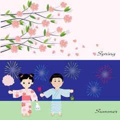 Seasonal in japan spring and summer
