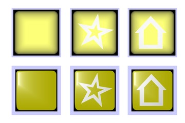 Square yellow button popular and home