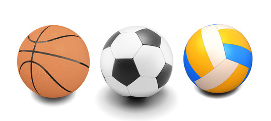 Set of basketball, soccer and volleyball balls