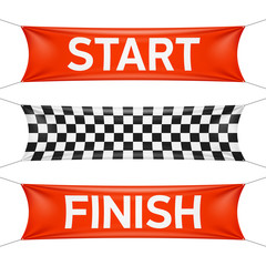Starting and finishing lines, checkered banners