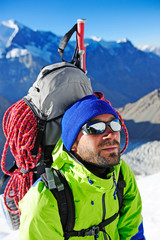 close up portrait of hiker looking at the summit