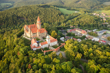 Aerial view of well preserved gothic castle Bouzov