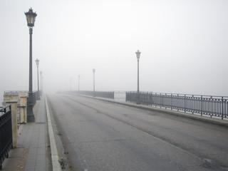 Fog on the road bridge