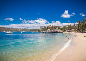 People relaxing at Manly beach in Sydney, Australia.