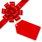 Red bow with tag. Vector - 76913524