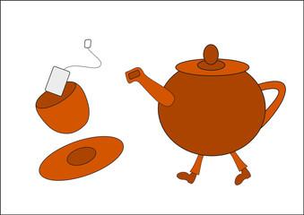 Teekanne am Laufen