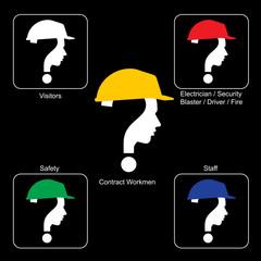 Safety Helmet Colors - Construction Site , vector