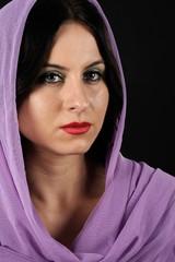 Beautiful purple scarf woman