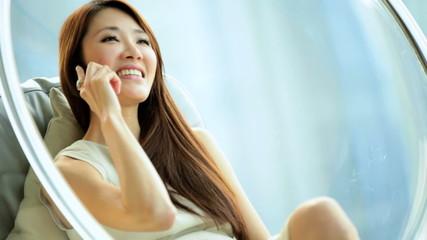 Female Asian Chinese Luxury Modern Furnishings Home Smart Phone Relaxation