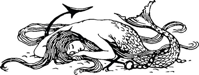 Vintage picture mermaid