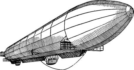 Vintage graphic airship dirigible