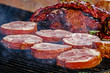 Meat placed on the grill