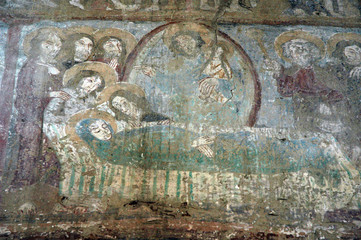 Ancient fresco, murals in Malancrav church. Transylvania, Romani